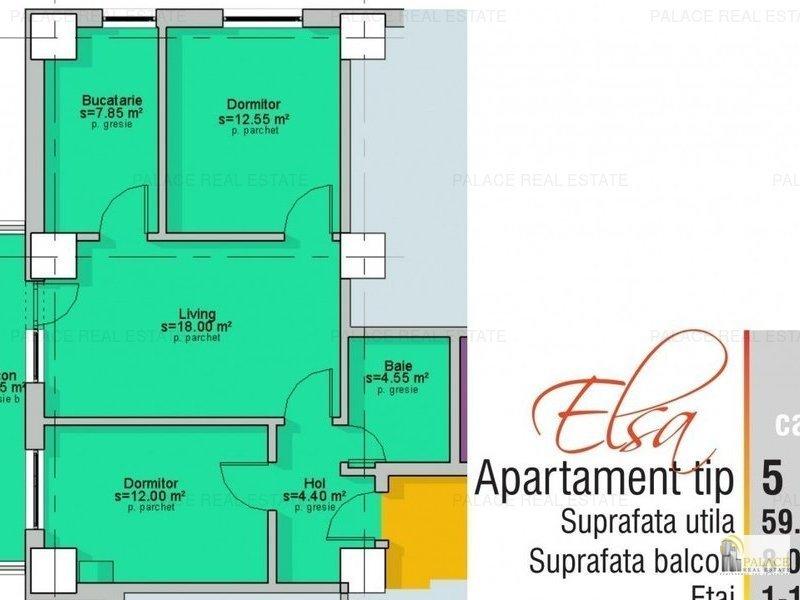 Comision 0% Apartament 2 camere  67.35 mp, Capat  Cug