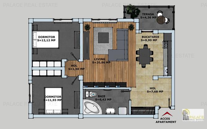 Apartament 3 camere, 73,87 mp, Bloc L3 Bucium