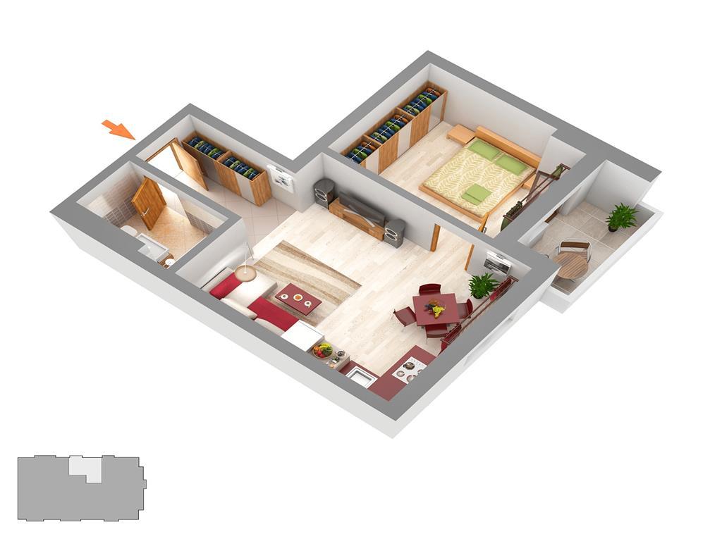 Apartament 2 camere, bloc nou, 41.50 mp, Centru  Palas