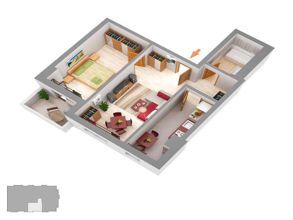 Apartament 2 camere, bloc nou, 47.90 mp, Centru  Palas