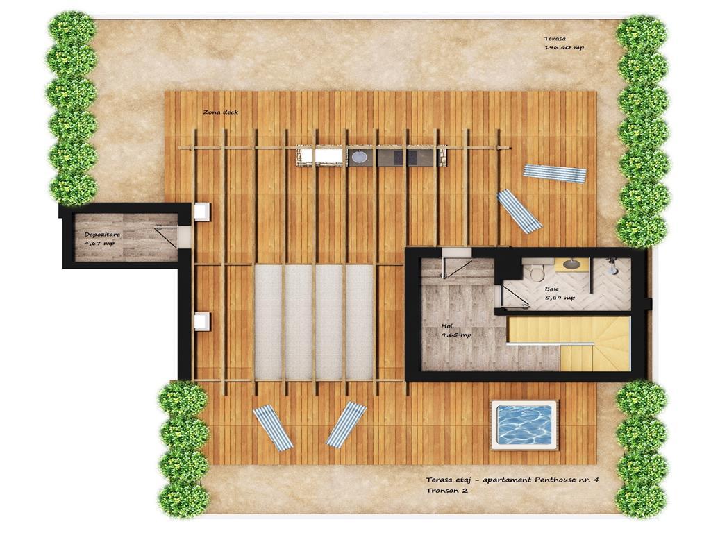 Penthouse deosebit, 4 camere, 368.8 mp, Tudor  Iulius Mall