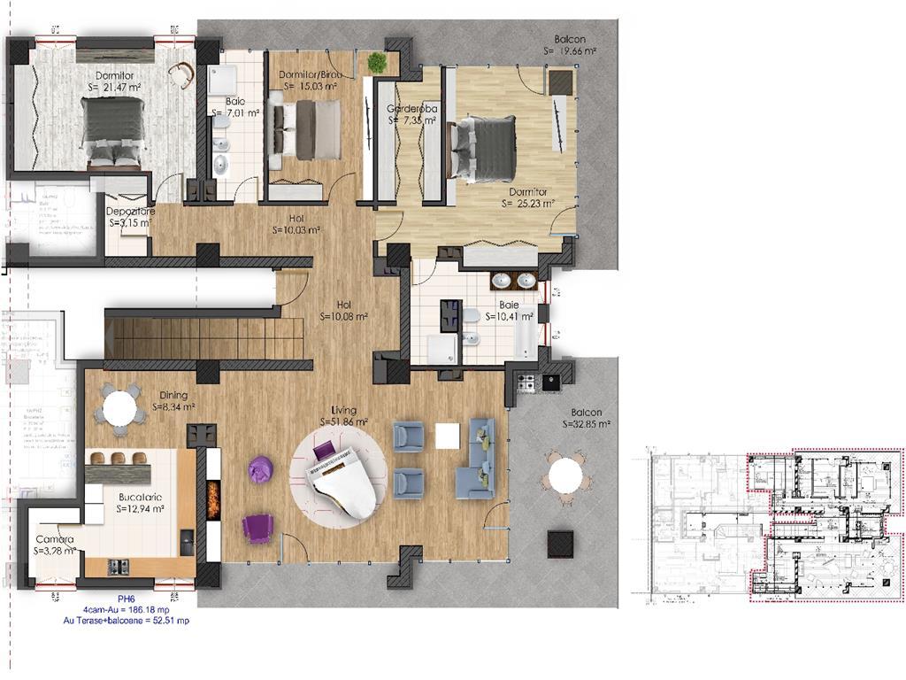 Penthouse deosebit, 4 camere, 456.21 mp, Tudor  Iulius Mall