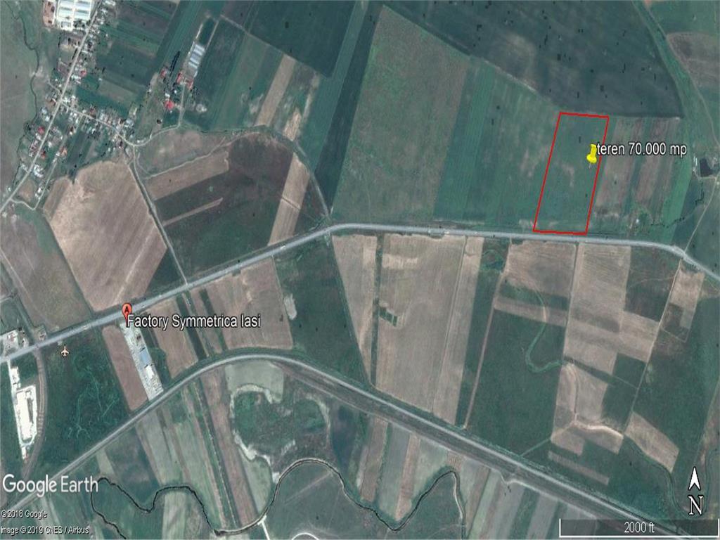 teren, 70.000 mp, E583,  intre Letcani si Podu Iloaiei