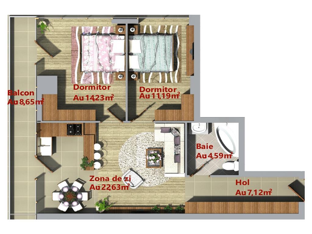 Ap 2 camere, 70.76 mp, bloc nou, Centru  Palas