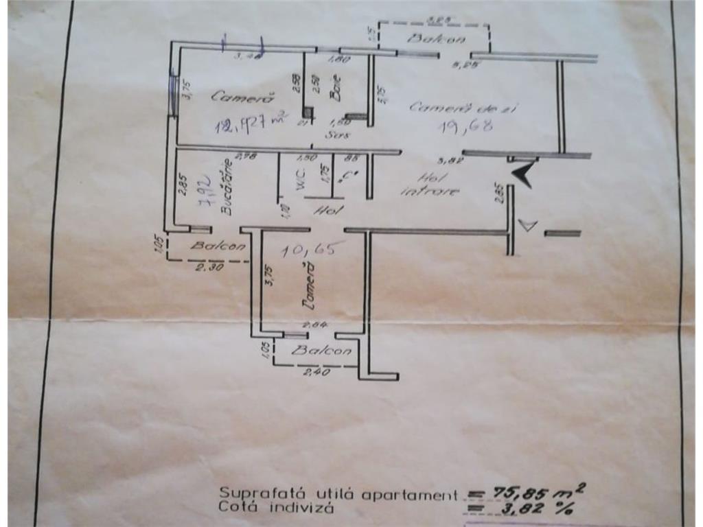 Ap 3 camere, 90 mp, bloc din 1989, et 1/8, Zimbru  Str. Amurgului