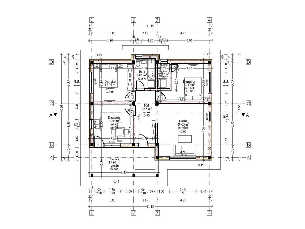 Casa single, plan parter 73mp utili, 350mp teren, BreazuPadurea Marzesti