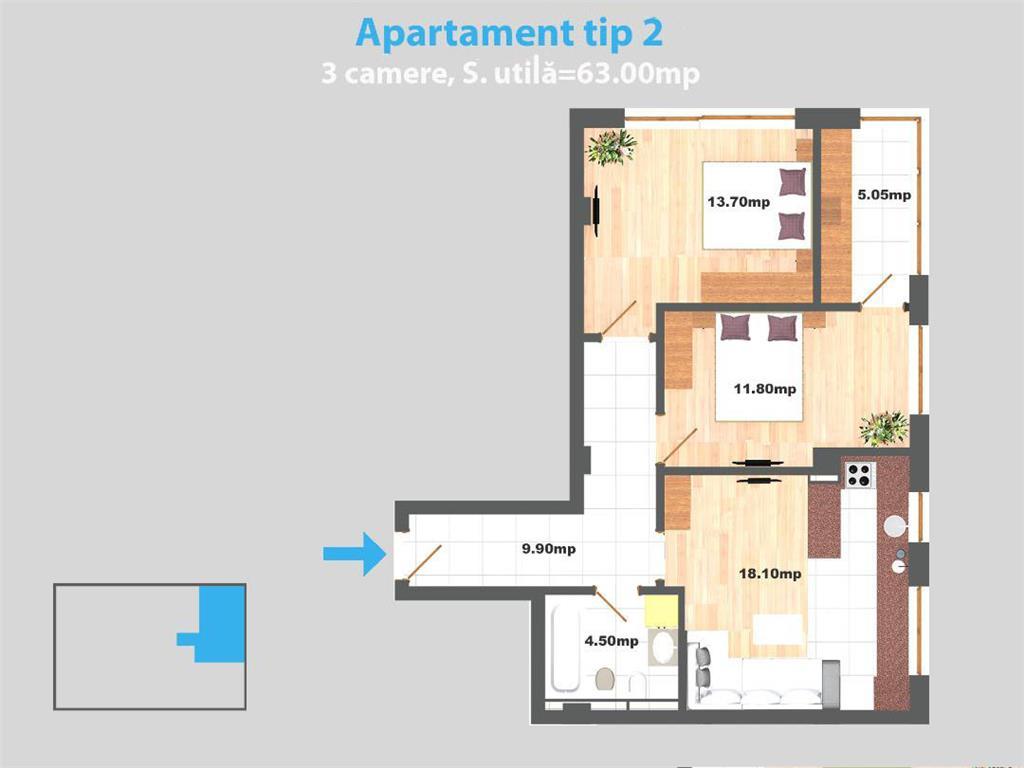 Comision 0% Apartament 3 camere, 65 mp, Valea Adanca