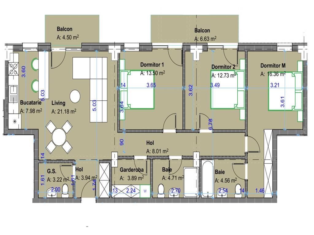 De vanzare,Apartament 4 camere,100.35mp Utili+11.13Balcon, Bucium, Zona deosebita