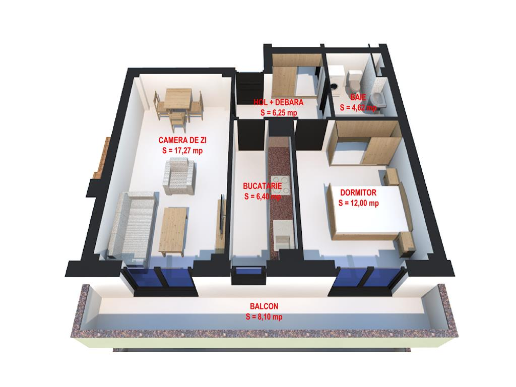 De vanzare, Apartament 2 camere,54.64mp, Visan