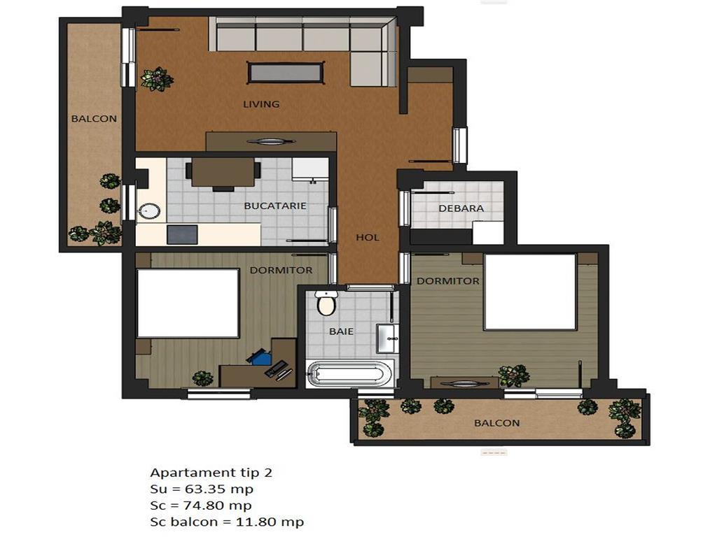 Comision 0% Apartament 3 camere 75.15 mp, Valea Adancaa
