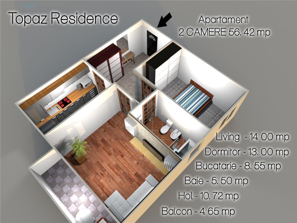 COMISION 0%, Apartament 2 camere,56,42 mp,Bucium