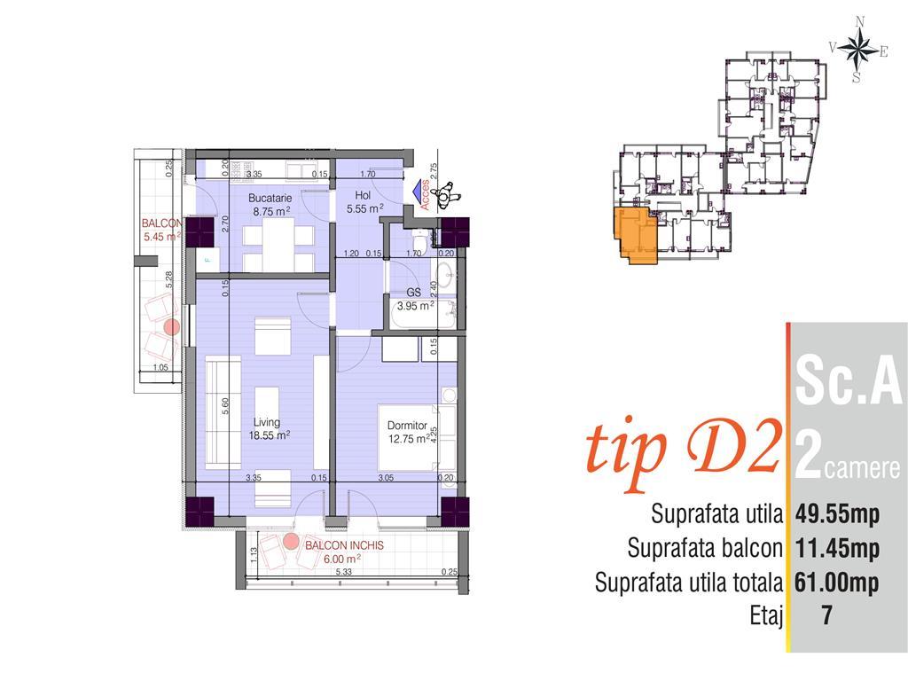 Apartament 2 cam, zona Cug