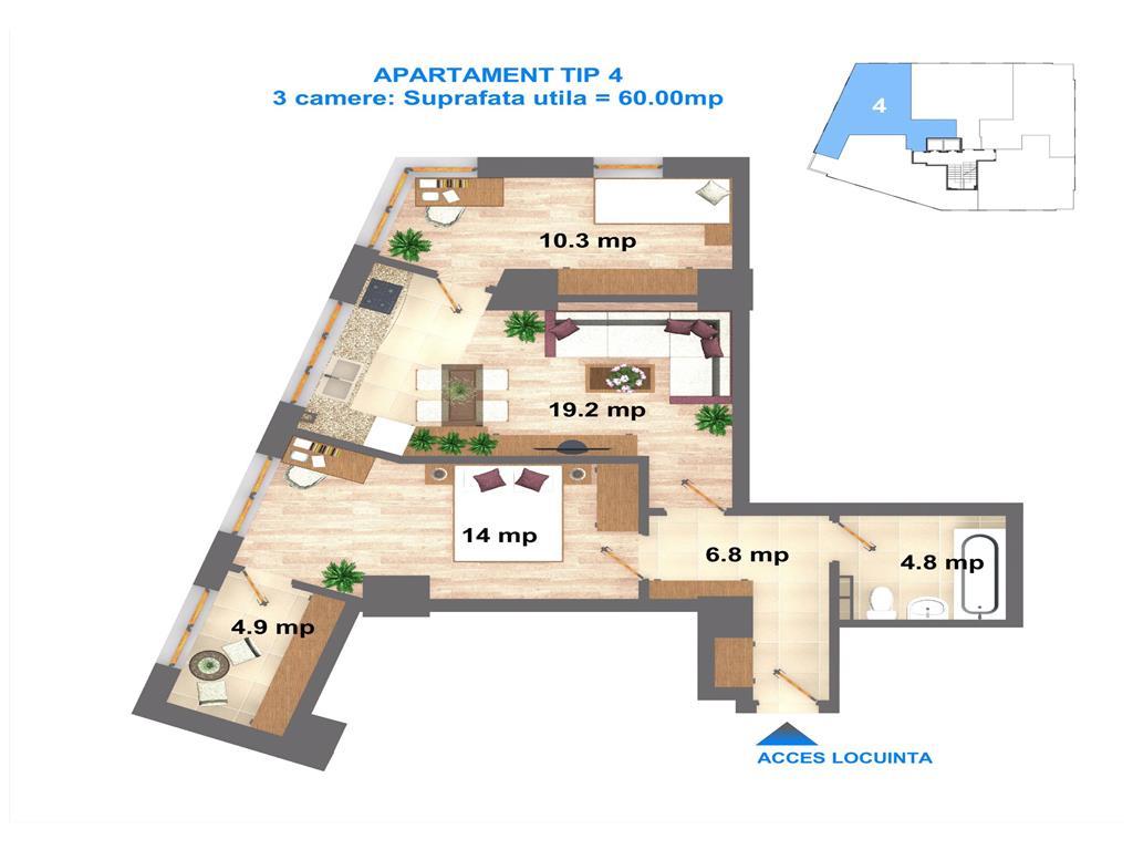 Comision 0 % Apartament 3 camere 60 Mp