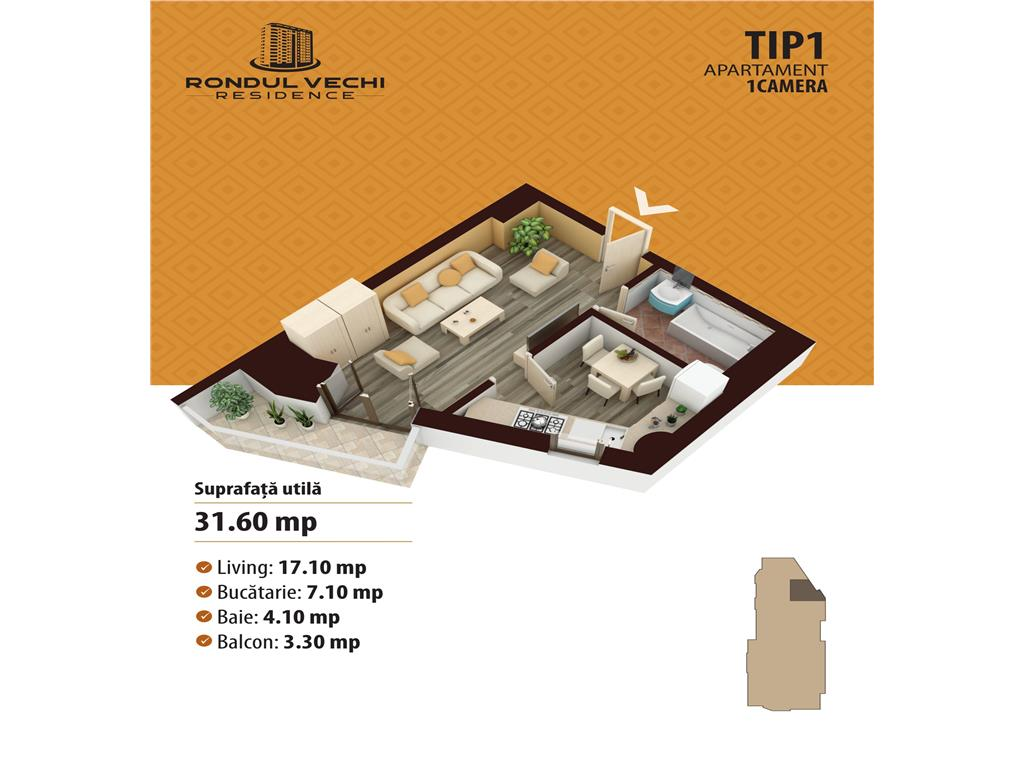 Comision 0% Apartament de vanzare 1 camera: 31.7 MP, zona Nicolina