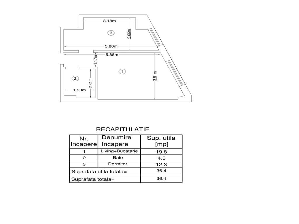 De vanzare, Apartament 2 camere, 36.4mp Utili, Bucium, la 200m Lidl