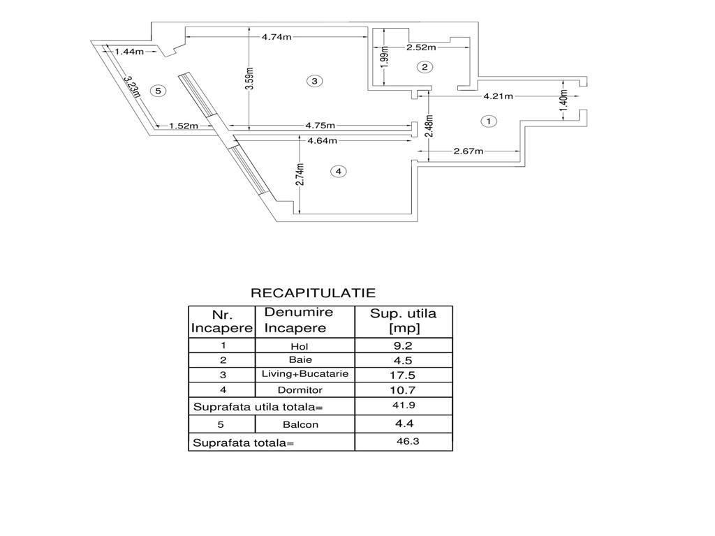 De vanzare,Apartament 2 camere 46.3mp, Bucium, 200m de Lidl