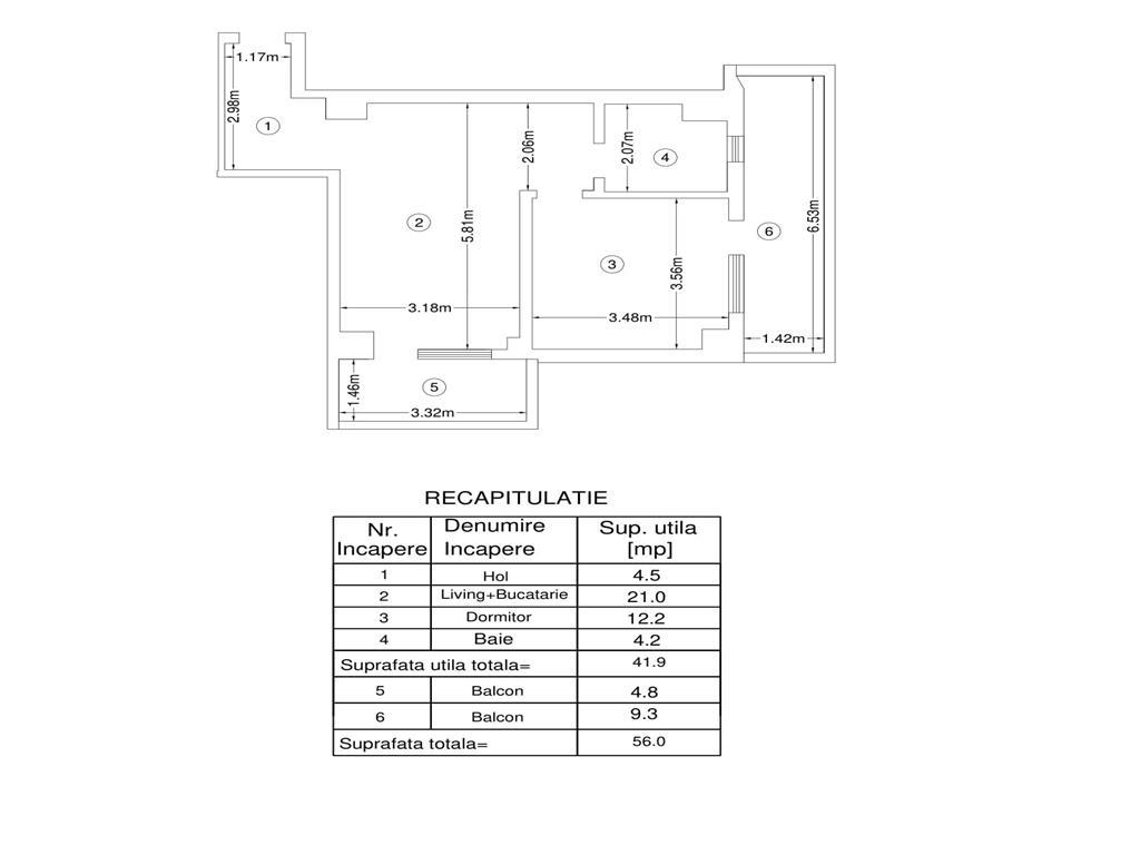 De vanzare, Apartament 2 camere, 56mp utili,Bucium, 200m de Lidl