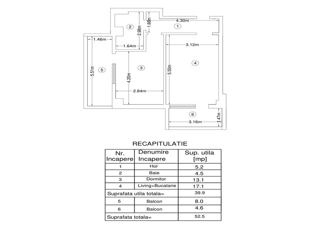 Apartament 2 camere,52.5mp utili, Bucium, la 200m de Lidl