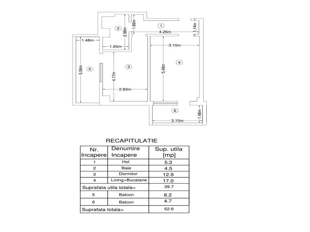 De vanzare, Apartament 2 camere,52.6mp Utili, Bucium, la 200m de Lidl