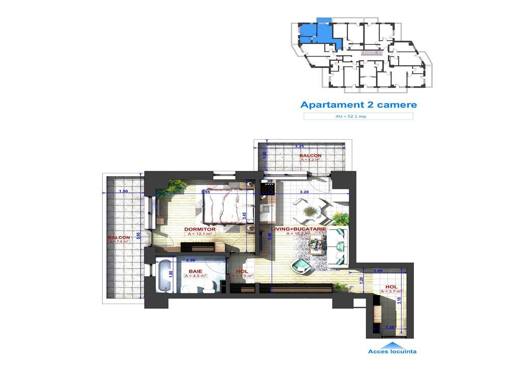 Tip 7, Apartament Tip 2 camere, 52.1 mp , I.C. Bratianu Residence II