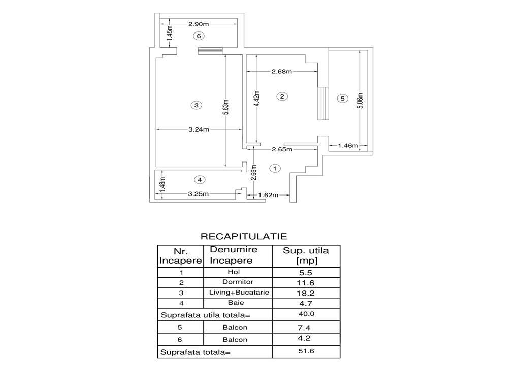 De vanzare, Apartament 2 camere, 51.6mp Utili, Bucium, la 200m de Lidl