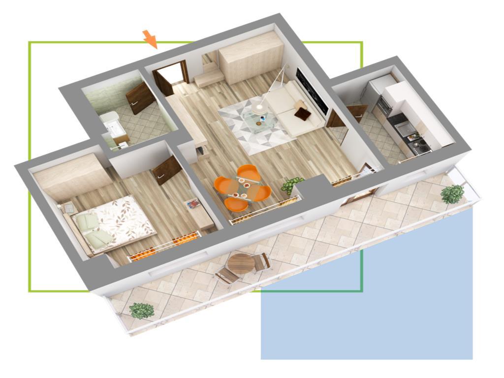 Apartament 2 camere, Nicolina, 49 mp, premium