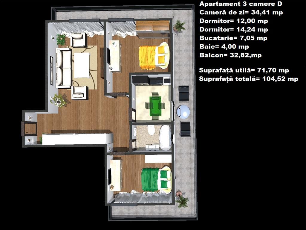 Comision 0% Apartament 3 camere+Terasa