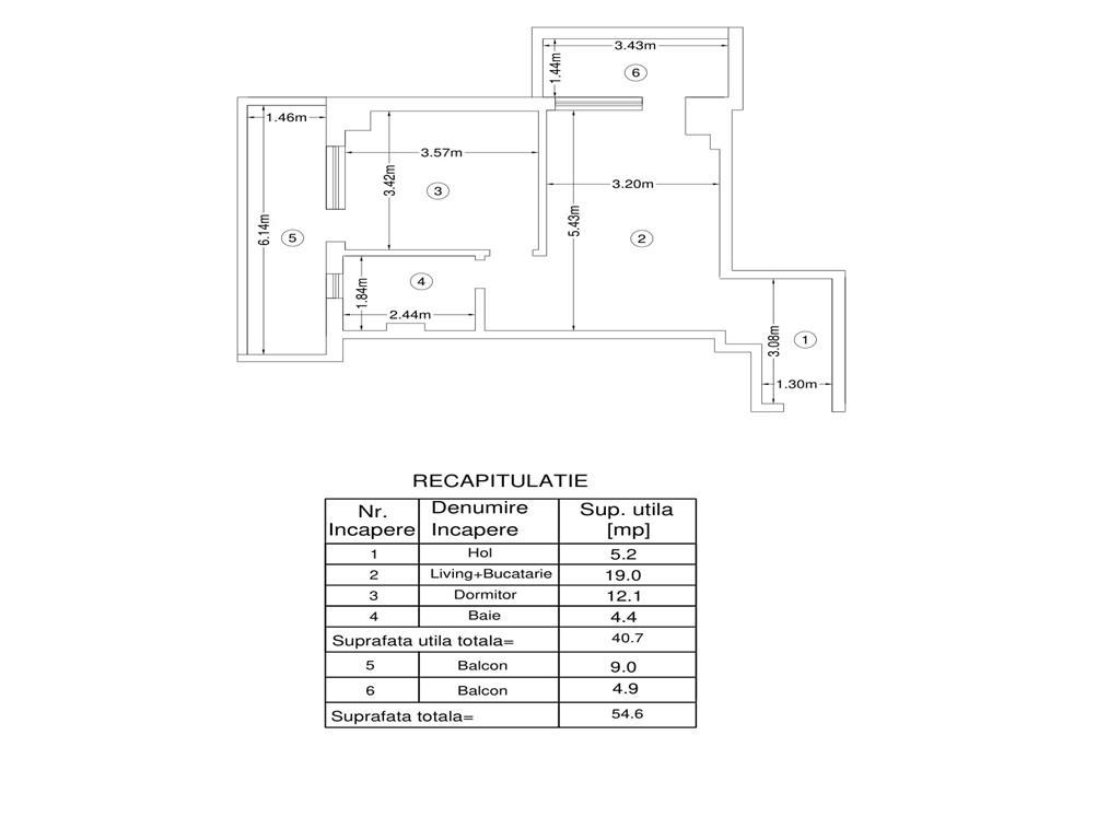 De vanzare, Apartament 2 camere,54.6mp Utili,Bucium, la 200m de Lidl