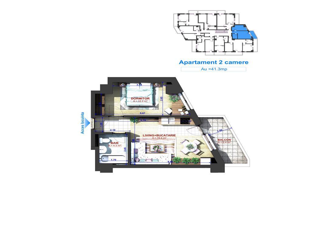 Tip 2, Apartament 2 camere, 41.3 mp , I.C. Bratianu Residence II
