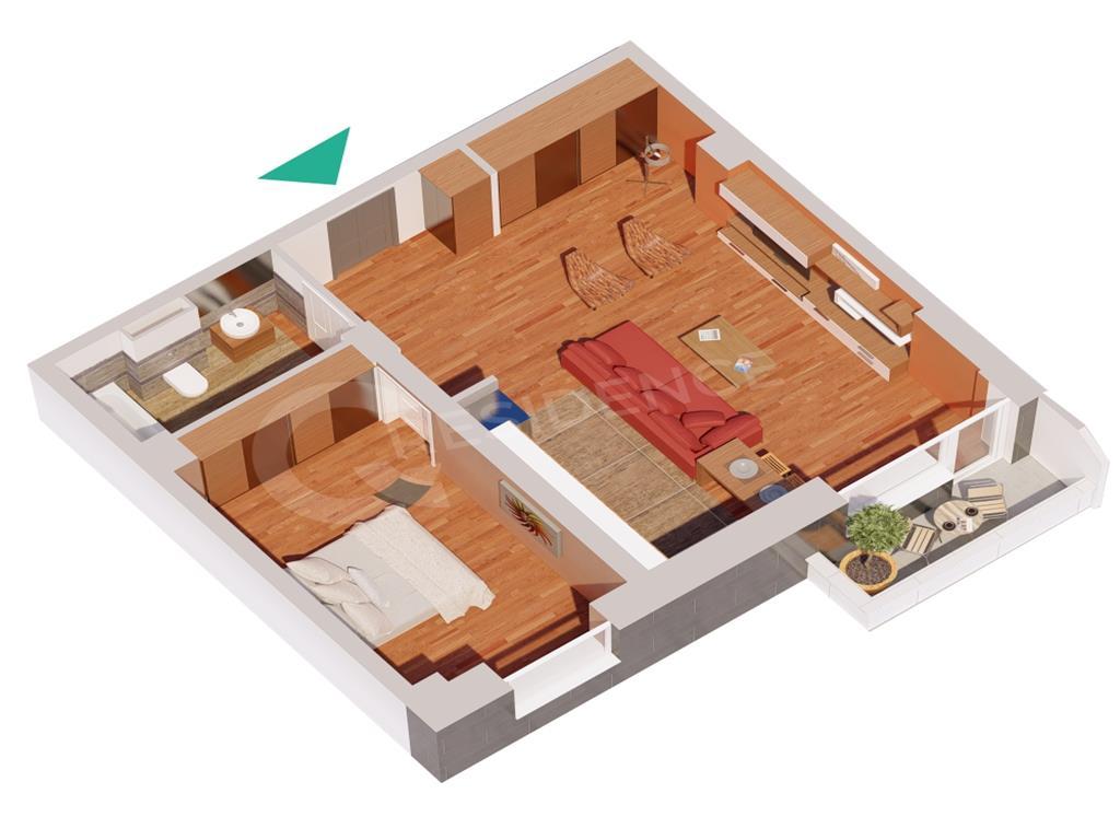 Ap 2 camere, bloc nou, 58.79 mp, Centru  Palas