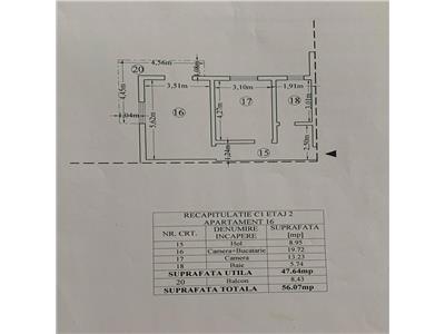 Ap 2 camere, 56 mp, bloc nou, mobilat complet, Pacurari  Bizantique
