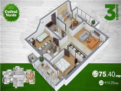 Comision 0, Apartament 3 camere, 89.17 mp, Copou