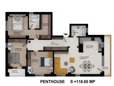 Oferta unica!  Penthouse 118.6mp Galata la 2 minute de belvedere