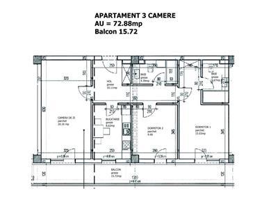 Ap 3 camere, bloc nou, 88.60 mp, parcare+boxa, Pacurari  Alpha Bank