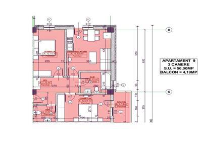 Apartament 3 camere, 2 bai, Pacurari bloc nou