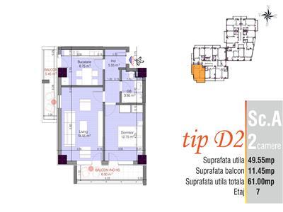 Apartament 2 camere decomandat, zona Cug