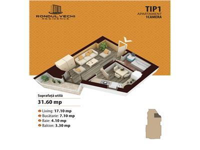 Comision 0% Apartament de vanzare 1 camera: 31.6 MP, zona Nicolina