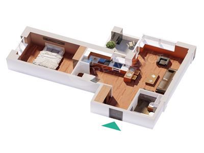 Ap 2 camere, bloc nou, 47.12 mp, Centru  Palas