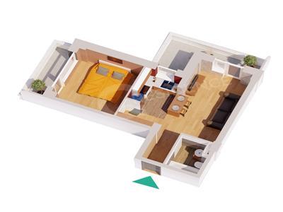 Ap 2 camere, bloc nou, 49.68 mp, Centru  Palas